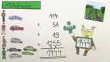 Schriftliche Addieren mit mehreren Zahlen