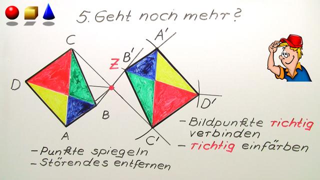 Punktspiegelung – Durchführung mit Hilfe von Zirkel und Lineal