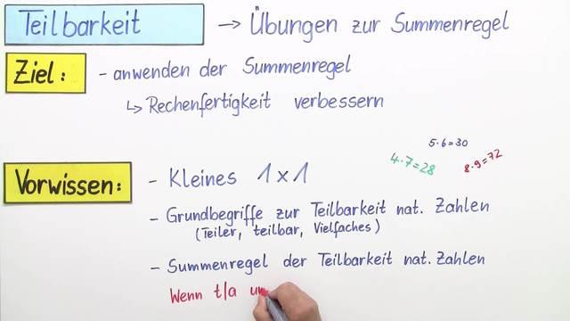 Summenregel – Übung – Mathematik online lernen