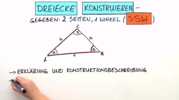 Dreiecke konstruieren – 2 Seiten und 1 Winkel gegeben (SSW)