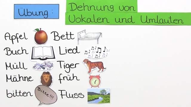 Übung zur Dehnung von Vokalen und Umlauten