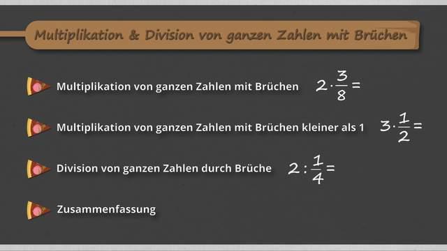 Multiplikation und Division von ganzen Zahlen mit Brüchen – Merkregeln