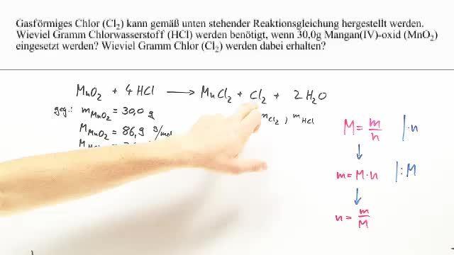 Herstellung von Chlorgas – Berechnung (Übungsvideo) – Chemie online ...