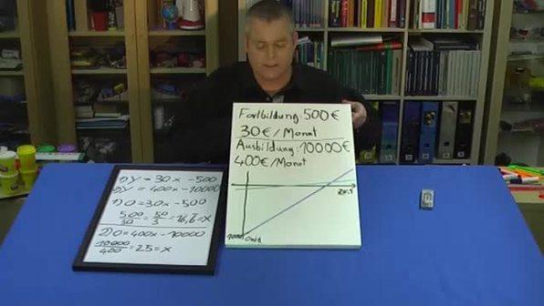 Lineare Gleichungssysteme – Investition (3 - Lösen des Gleichungssystems)