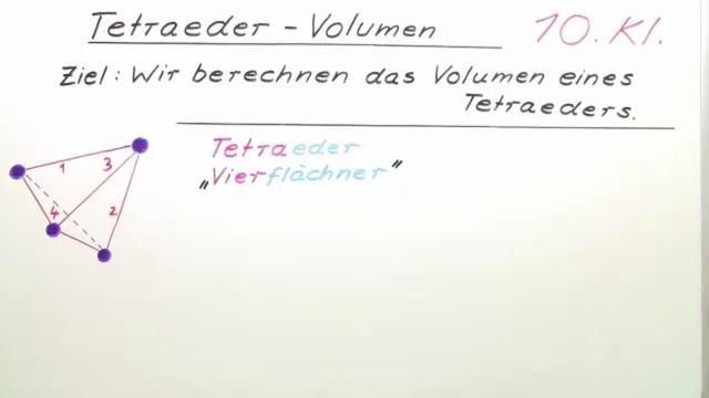 Tetraeder – Volumen – Mathematik online lernen