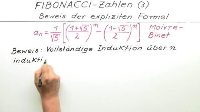 Fibonacci-Zahlen – Beweis der expliziten Formel
