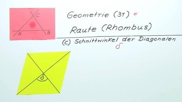 Schnittwinkel der Diagonalen im Rhombus