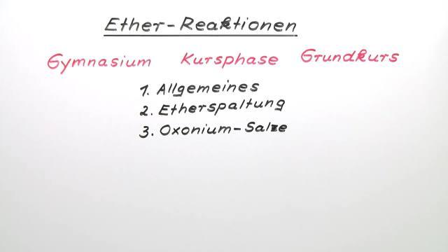 Ether – Reaktionen