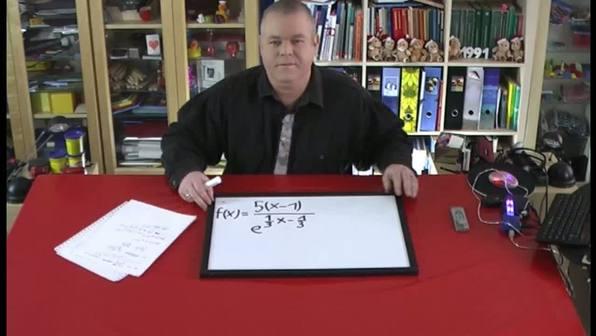 Exponentialfunktionen ableiten – Beispiel f(x)=5(x-1)/e^(⅓x-⅓)