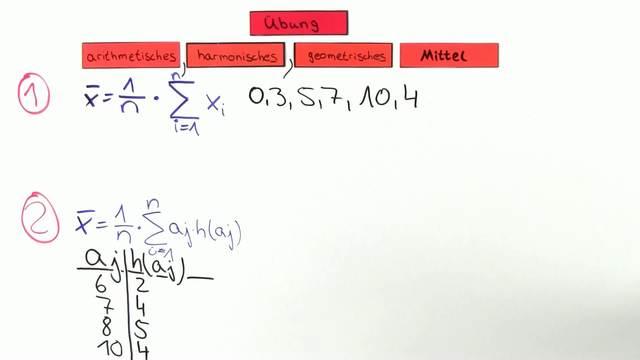 Statistik Video 15 - arithmetisches, geometrisches & harmonisches ...