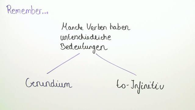 Gerund and Infinitive – Verben mit Bedeutungsunterschied (Übungsvideo)