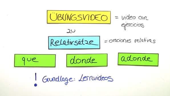 Relativsätze mit que, donde und adonde - Übungsvideo