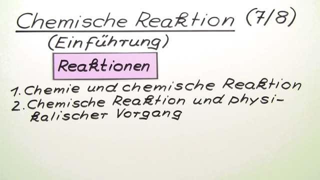 Chemische Reaktion – Einführung