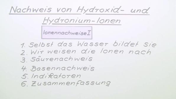 Nachweise von Hydroxid- und Hydronium-Ionen