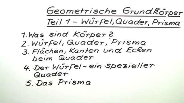 Geometrische Grundkörper – Würfel, Quader, Prisma