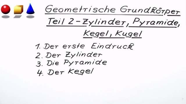 Geometrische Grundkörper – Zylinder, Pyramide, Kegel, Kugel