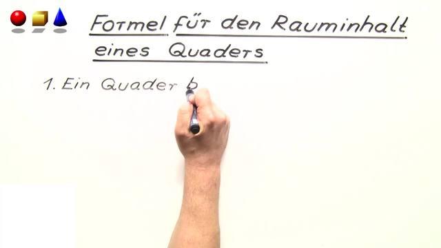 Formel für das Volumen eines Quaders