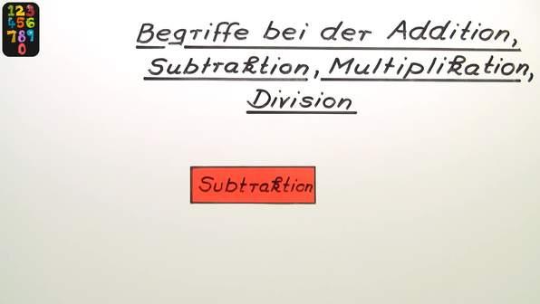 Begriffe bei der Addition, Subtraktion, Multiplikation und Division
