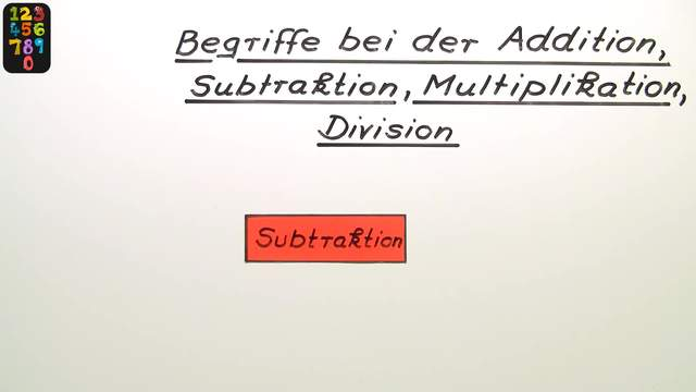 Begriffe bei der Addition, Subtraktion, Multiplikation und Division